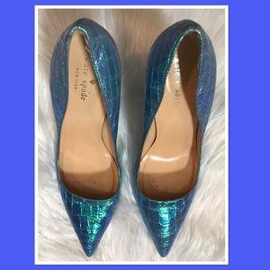 kate spade Shoes - Kate Spade Licorice Blue Hologram Croco Heels